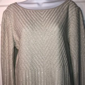 St. John Silver Sequined Sweater Sz M